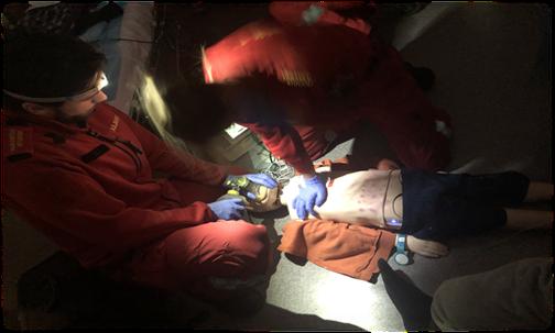 Bilde fra en akutt situasjon med ambulanse på paramedic