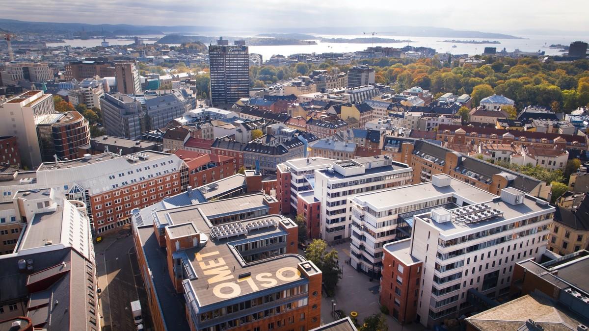 dronebilde over Oslo sentrum fra OsloMet taket