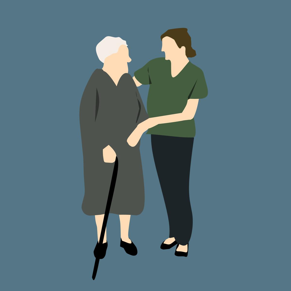 En animerad bild på en äldre dam med käpp som konverserar med en yngre människa