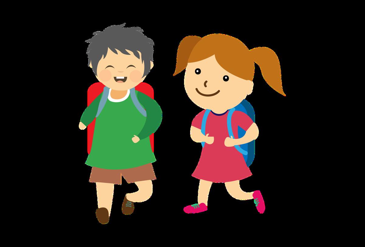 En animerad bild på två glada skolbarn.